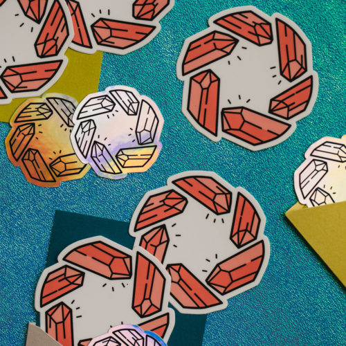 Crystal Shutter Sticker Set Flat Lay